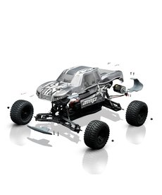 ECX 1/10 AMP MT 2WD Monster Truck Con Escobilla BTD Kit con cuerpo sin pintar (ECX03034)