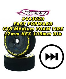 Sweep Racing Sweep FAST FORWARD MEDIUM FOAM TIRES for GT8 17mm HEX 2pcs set