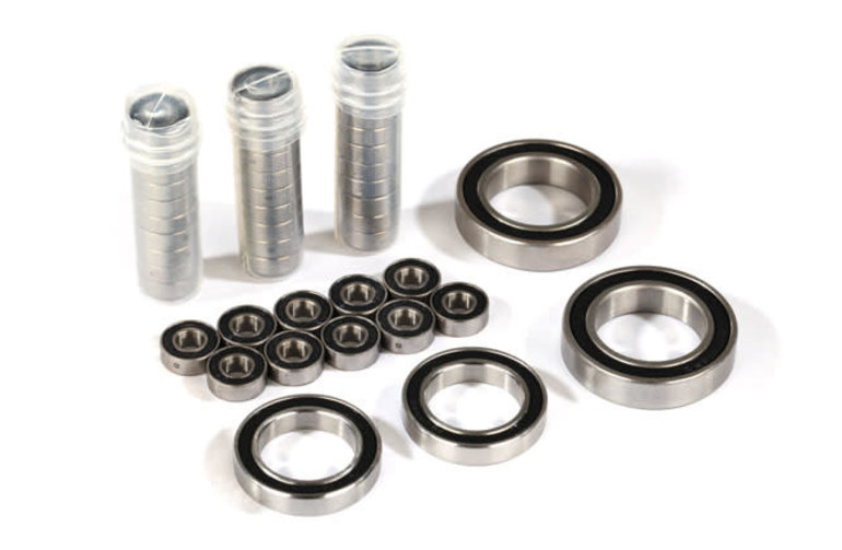 Traxxas Ball bearing set, TRX-4 Traxx, black rubber sealed, stainless (contains 5x11x4 (40), 20x32x7 (2), & 17x26x5 (2) bearings/ 5x11x.5mm PTFE-coated washers (40)) (for 1 pair of front or rear tracks)