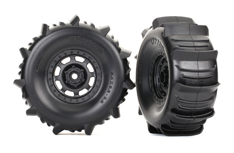 Traxxas 8475 Tires and wheels, assembled, glued (Desert Racer wheels, paddle tires, foam inserts) (2)
