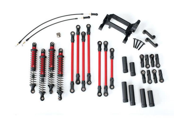 Traxxas 8140R Kit de elevación de brazo largo TRX-4 completo (incluye enlaces recubiertos de polvo rojo, amortiguadores anodizados en rojo)