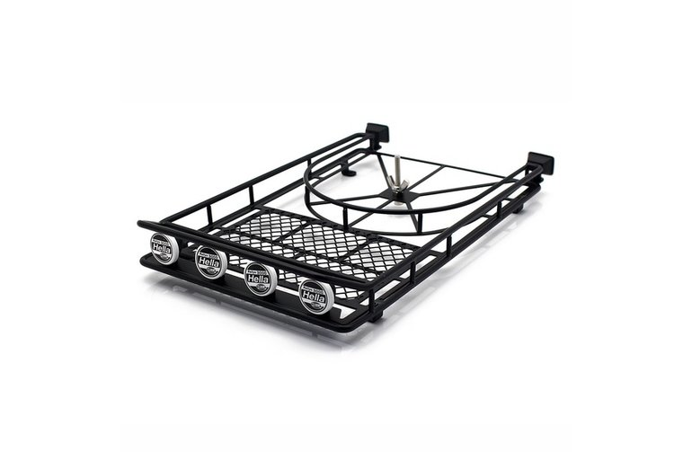 INJORA Metal Roof Rack Luggage Carrier with LED Light for 1/10 RC Crawler Axial SCX10 SCX10 II