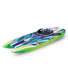 Traxxas 57046-4-GRNX DCB Green M41 Catamarán Widebody Brushless 40 'Race Boat Totalmente ensamblado RTR TQi 2.4GHz Castle Creations 540XL Motor, VXL-6s Marine ESC, TSM