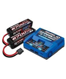 Traxxas (2997) Paquete completo de cargador de batería X-Maxx (incluye cargador dual iD 2973 2890X 6700mAh 14.8V 4 celdas 25C batería LiPo