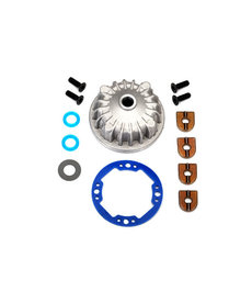 Traxxas 6781 Housing, center differential (aluminum)/ x-ring gaskets (2)/ ring gear gasket/ bushings (2)/ 5x10x0.5mm PTFE-coated washers (2)/ 2.5x8 CCS (4)