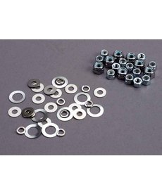 TRA 1252 Nut set, lock nuts (3mm (11) and 4mm(7)) & washer set