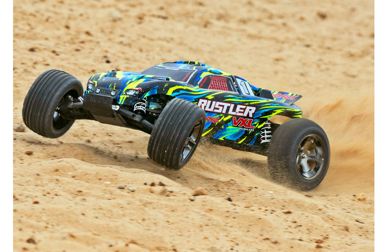 Traxxas 37076-4-YLW Rustler 2WD 1/10 Scale RC Stadium Truck RTR with TQi 2.4GHz  Velineon VXL 3s brushless ESC and TSM