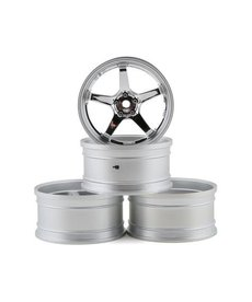 MST 832110S MST 12MM Hex GT Wheel Set (Matte Silver / Chrome) (4) (Offset Changeable)
