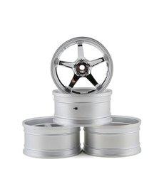 MST 832110S MST Juego de ruedas GT hexagonales de 12 mm (plata mate / cromo) (4) (desplazamiento intercambiable)