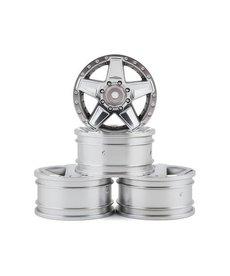 "MST 102101FS MST RC 12MM Hex 648 1.9"" Plastic Wheel (Flat Silver) (4) (+5)"
