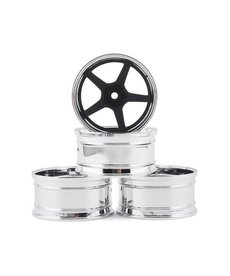 MST 832109FBK MST RC GT 12MM Plastic Wheel (Rims) Set (Chrome/Black) (4) (Offset Changeable)