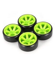 Generic Verde Neumáticos de deriva de patrón duro hexagonal RC de 12 mm 1/10 RC Para carretera 6 rayos