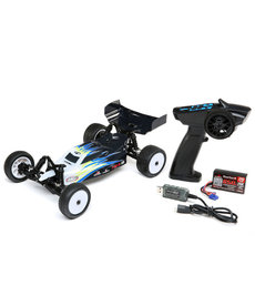 LOS LOS01016T2 Mini-B, Brushed, RTR: 1/16 2WD Buggy, Black/White