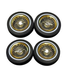 Redcat Racing RER14434 low profile lowrider tire with white wall, foam, gold wheel, knock off & nuts 4pcs Not Glued