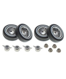 Redcat Racing RER13882 low profile lowrider tire with white wall, foam, Chrome wheel, knock off & nuts 4pcs Not Glued