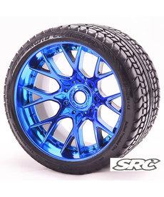 Sweep Racing C1001bc Monster Truck Road Crusher Neumático con cinturón prepegado en WHD Blue Chrome Wheel Juego de 2 piezas