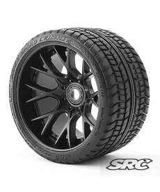 Sweep Racing C1001B 17 mm RC Monster Truck Road Crusher Neumáticos con cinturón prepegados en WHD Juego de 2 ruedas negras