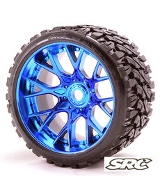 Sweep Racing C1002BC 17mm RC Monster Truck Terrain Crusher Belted tires preglued on WHD Blue Chrome wheel 2pc set