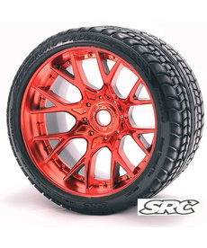 Sweep Racing C1001RC 17mm RC Monster Truck Road Crusher Belted tire preglued on WHD Red Chrome wheel 2pc set