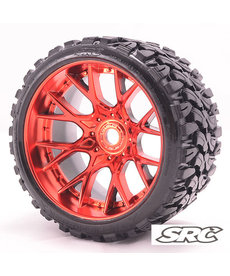 Sweep Racing C1002RC 17mm RC Monster Truck Terrain Crusher Belted tires preglued on WHD Red Chrome wheel 2pc set
