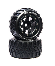 """Duratrax DTXC5606 Hatchet MT Belted 2.8"""" Mounted Front/Rear Tires .5 Offset 17mm, Black (2) Fits Traxxas MAXX"""
