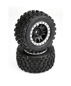 Proline Racing 10131-13 Badlands MX43 Pro-Loc, ruedas Impulse Negro con anillos grises (2): X-Maxx