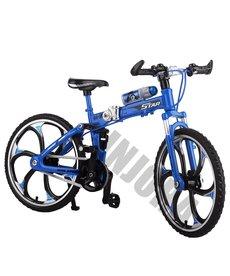 INJORA Bicicleta plegable de montaña de Metal azul para 1/10 RC Crawler Axial SCX10 TRX4 RC Decoración de coche