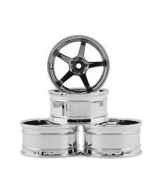 MST 832109SBK Juego de ruedas MST GT (cromo / cromo negro) (4) (desplazamiento intercambiable)