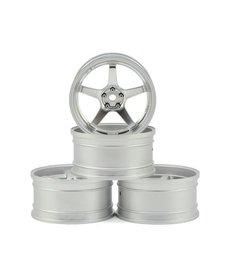 MST 832109FS Juego de ruedas Drift MST GT (cromo / plata mate) (4) (compensación cambiable)