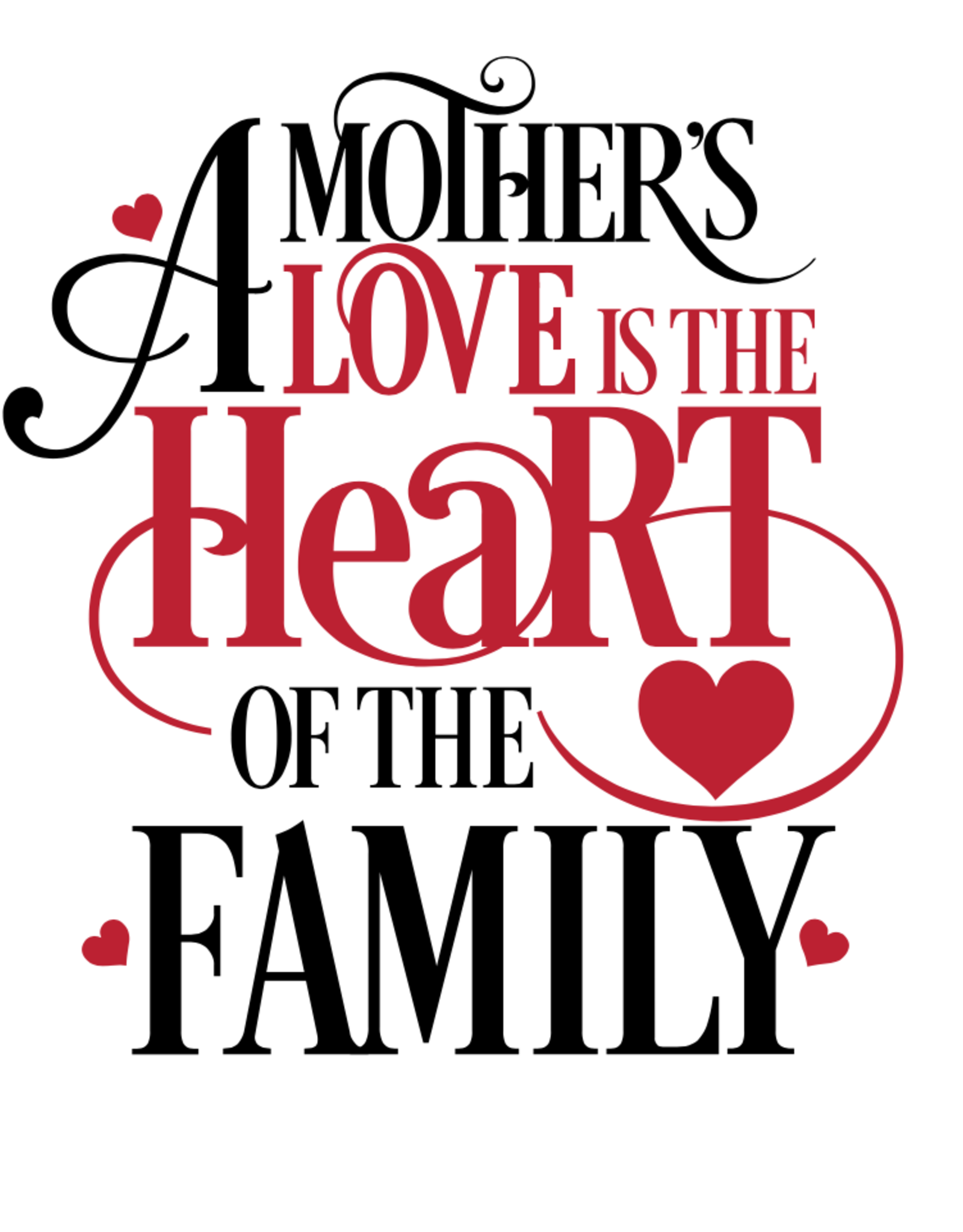 Mom the heart of the family stencil