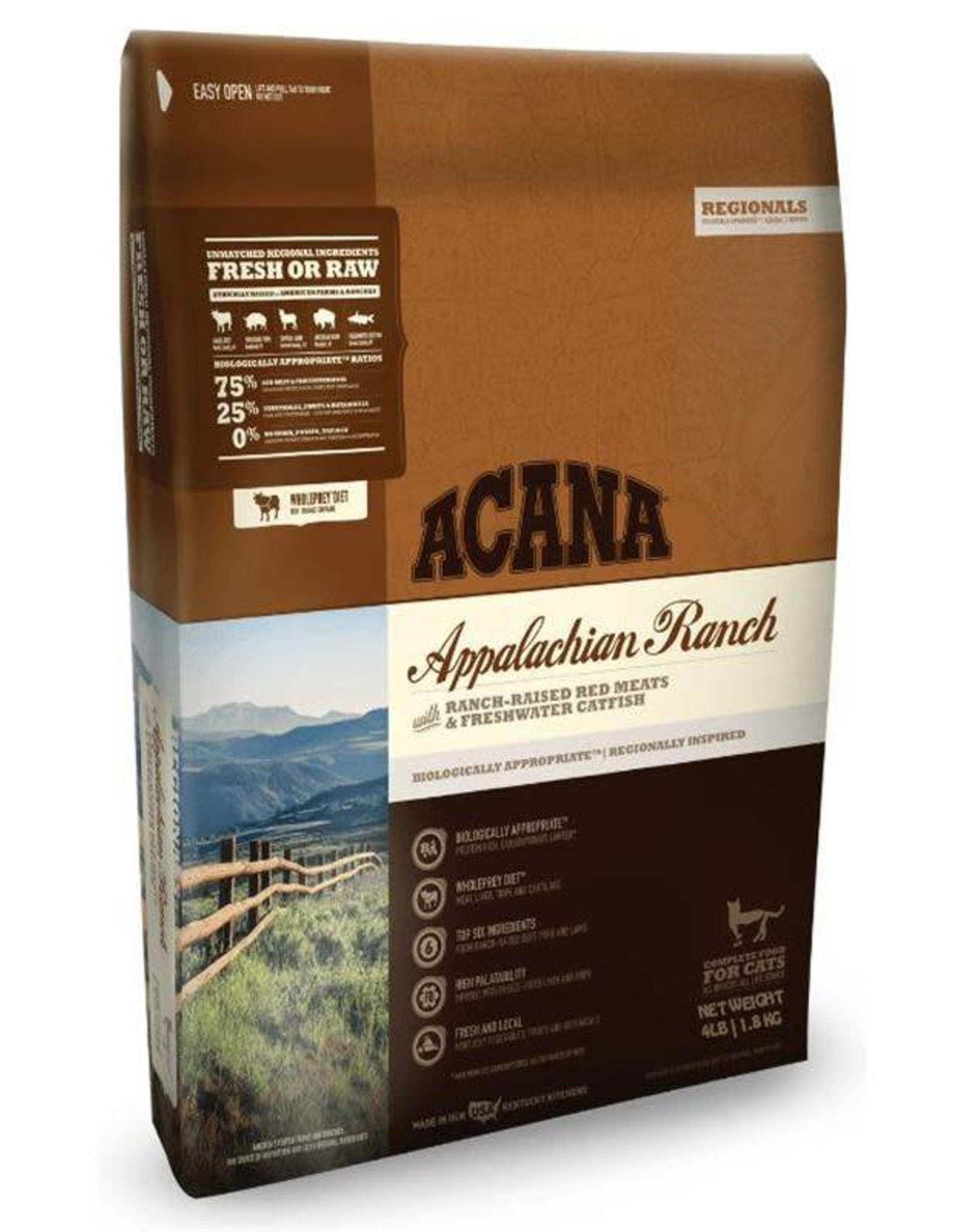 Acana ACANA APPALACHIAN RANCH-RAISED RED MEAT& FRESH WATER CATFISH- CAT FOOD- 4 LB.