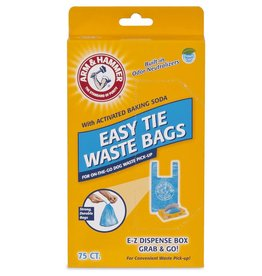 Arm & Hammer Arm & Hammer Disposable Handle Easy Tie Waste Bags, Blue, 75 count- for Dogs
