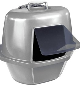 Van Ness Covered Corner Cat Litter Pan- Grey- 3.15 lb.