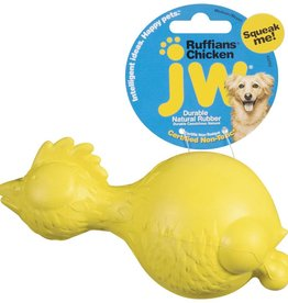 JW Products JW Pet Ruffians Chicken Squeaky Dog Toy, Color Varies- 6.56 oz.