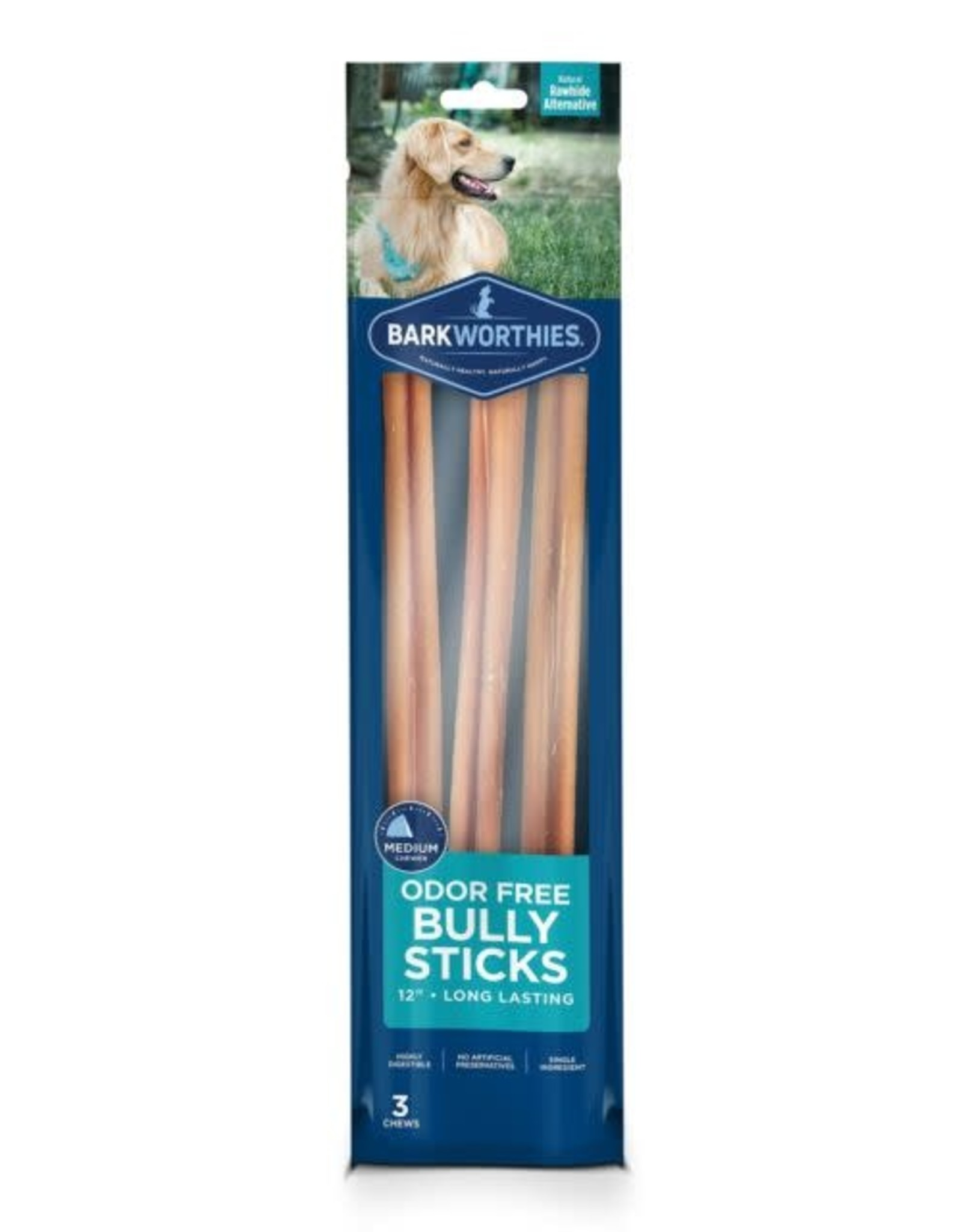 Barkworthies Barkworthies Odor Free Bully Sticks 12 3 pack