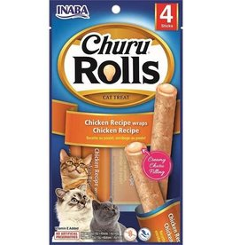 Inaba Inaba Churu Rolls Chicken Recipe wraps Chicken Recipe Grain-Free Cat Treats, 0.35-oz pack of 4