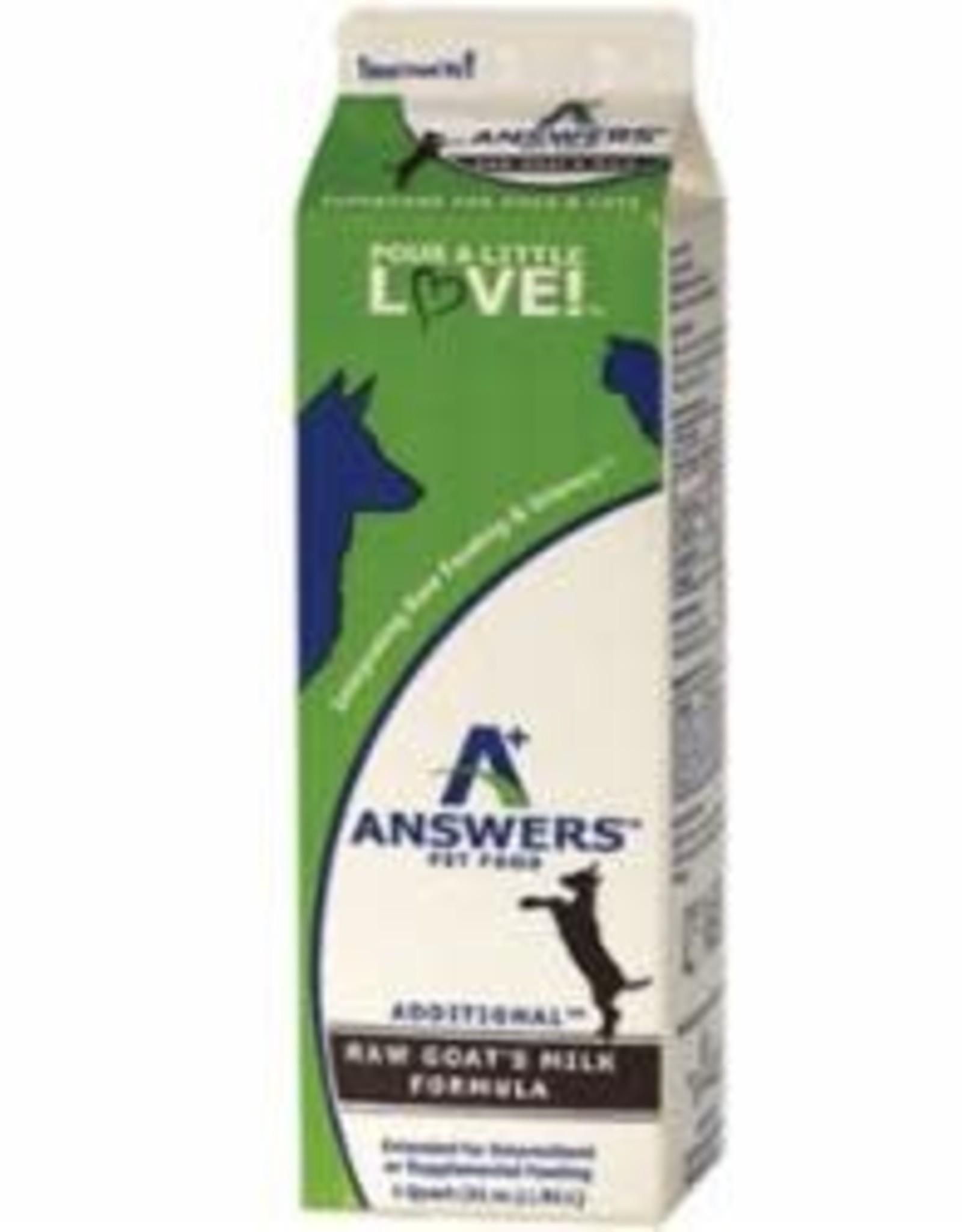Answers Answers 1 Quart Dog & Cat Add  Goat Milk Frozen Carton