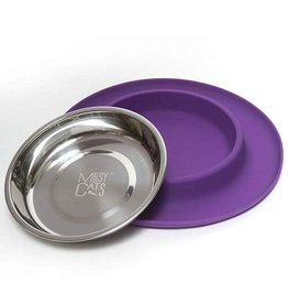 Messy Mutts Messy Mutts Cat Feeder Silicone with SS Bowl Medium 1.5 Cup Purple