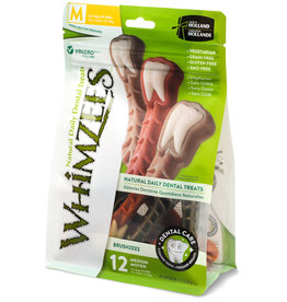 WHIMZEE WHIMZEES Brushzees Grain Free Natural Daily Dental Dog Treat Medium 12 Count