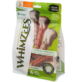 WHIMZEE WHIMZEES Brushzees Grain Free Natural Daily Dental Dog Treats Large 6 Count