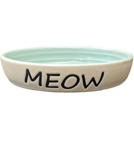 Ethical Ethical Meow Dish Cat Oval 6 Inch Green