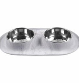 Messy Mutts Messy Mutts Cat Double Feeder Silicone  Marble