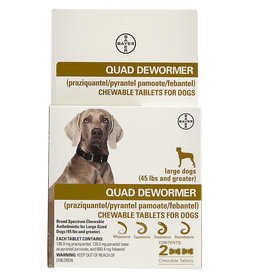Bayer Bayer Quad Dewormer for Large Dogs (over 45 lbs) 2 Chewable Tablets