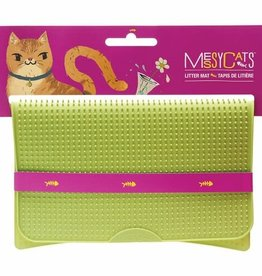 Messy Mutts Messy Mutts Cat Silicone Litter Mat Green 17.75X12.75