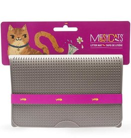 Messy Mutts Messy Mutts Cat Silicone Litter Mat Grey 17.75X12.75