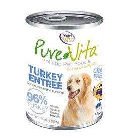 Nutrisource PureVita Grain Free 96% Real Turkey Entree Canned Dog Food, 13 oz