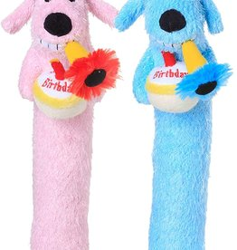 Multipet Multipet Loofa Birthday Dog Toy, Color Varies, 12-in