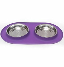 Messy Mutts Messy Mutts Cat Feeder Silicone with SS Bowls Double Diner Medium 1.5 Cup Purple