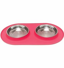 Messy Mutts Messy Mutts Cat Feeder Silicone with SS Bowls Double Diner Medium 1.5 Cup Melon