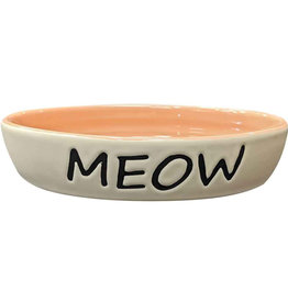 Ethical Ethical Pet Meow Oval Cat Dish Coral